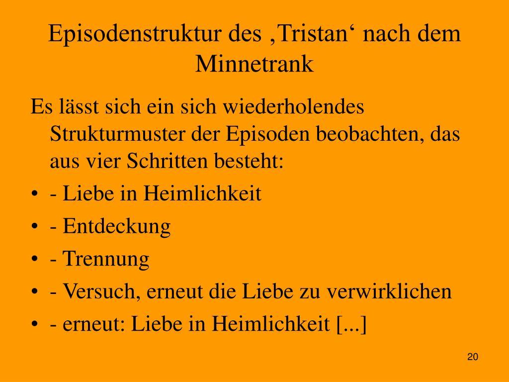 Episodenstruktur des 'Tristan' nach dem Minnetrank