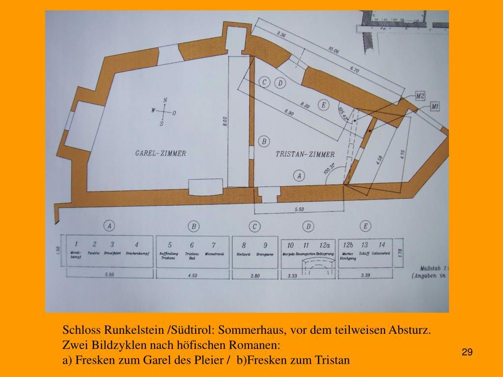 Schloss Runkelstein /Südtirol: Sommerhaus, vor dem teilweisen Absturz.