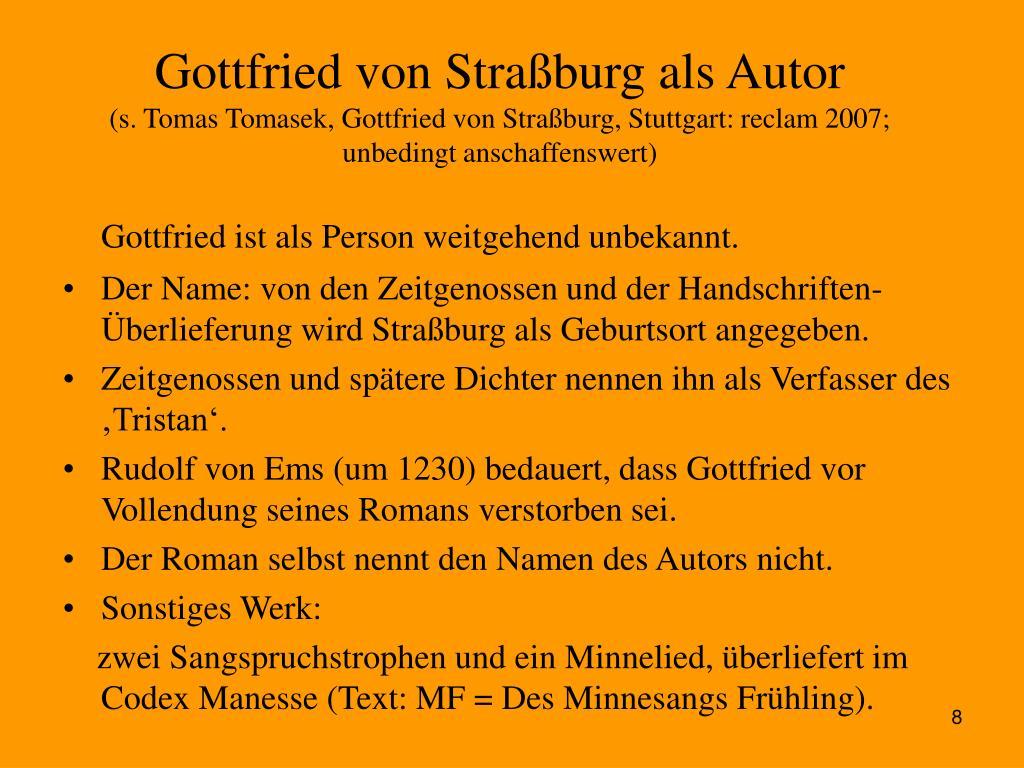 Gottfried von Straßburg als Autor
