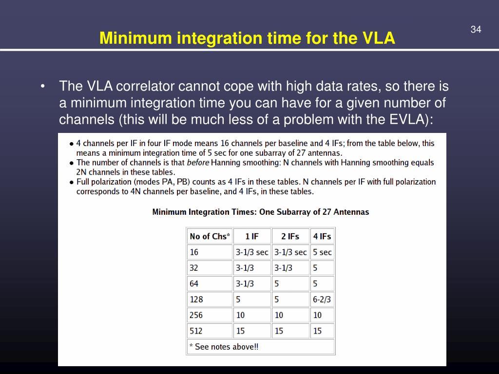 Minimum integration time for the VLA