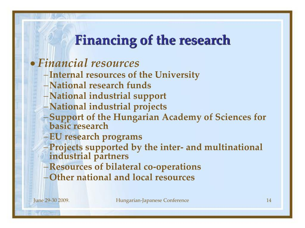 Financing of the research