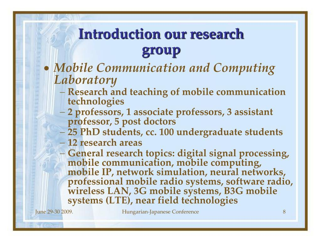 Introduction our research