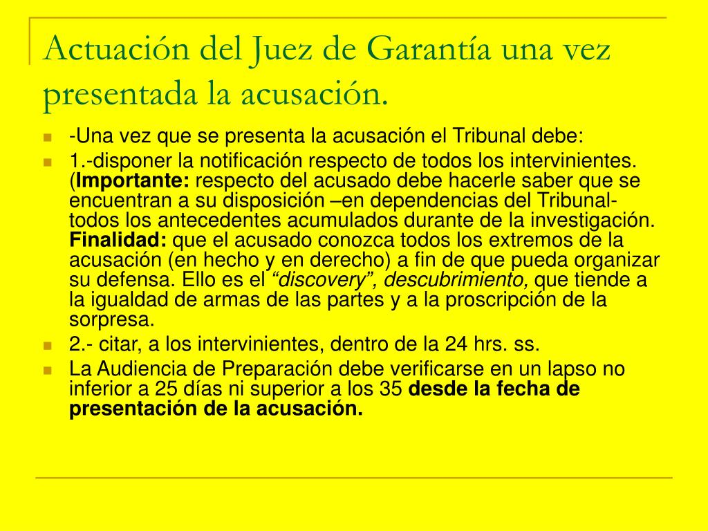 Actuación del Juez de Garantía una vez presentada la acusación.