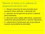 materias de debate en la audiencia de preparaci n del juicio oral