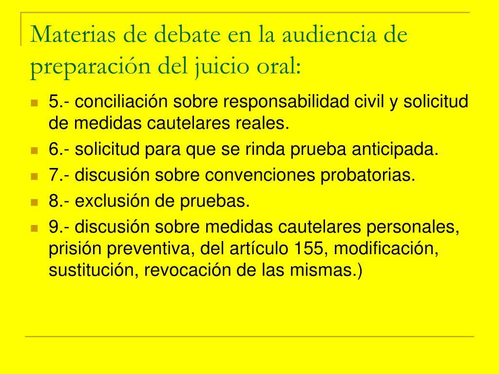 Materias de debate en la audiencia de preparación del juicio oral: