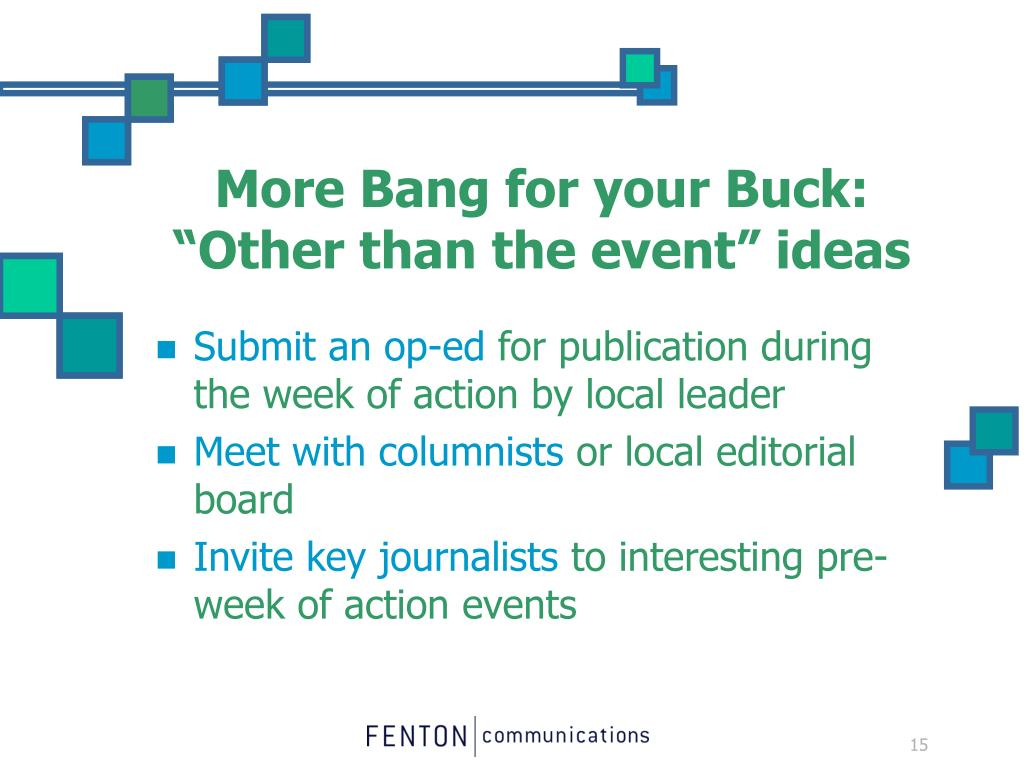 "More Bang for your Buck: ""Other than the event"" ideas"