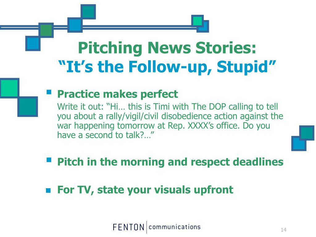 Pitching News Stories: