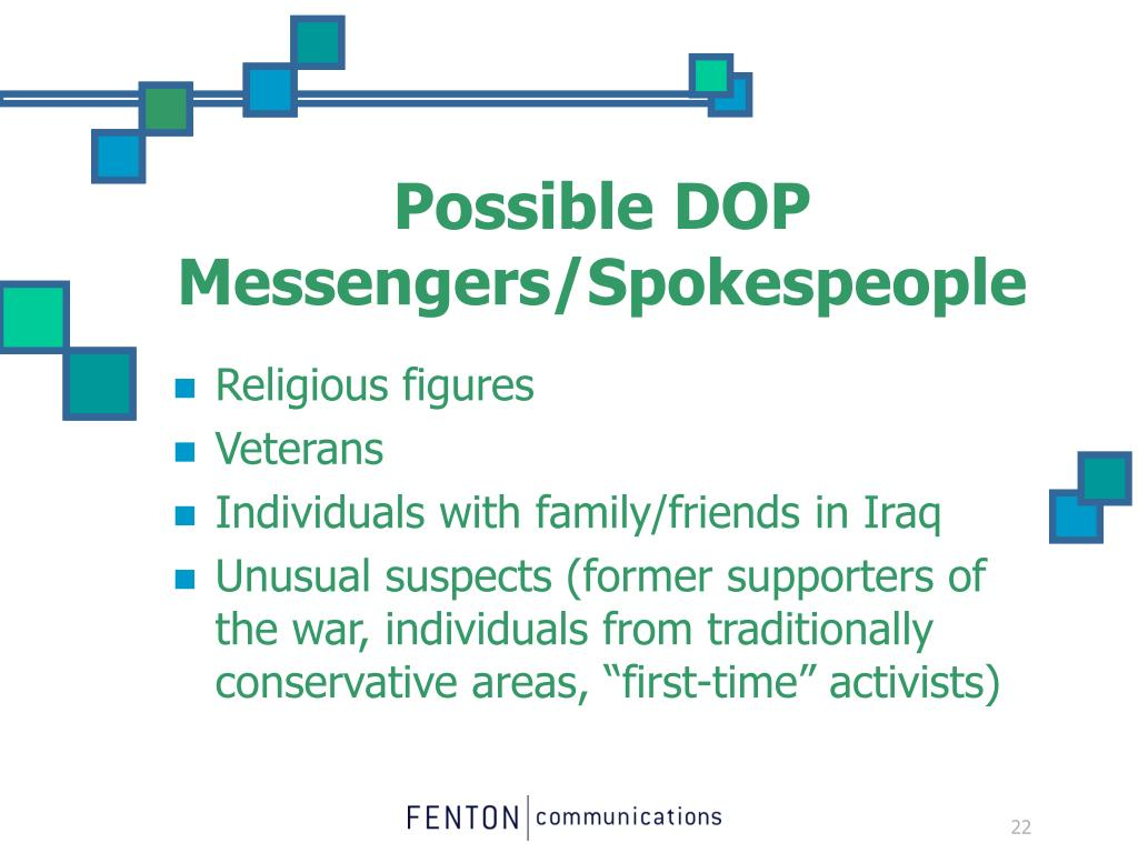 Possible DOP Messengers/Spokespeople