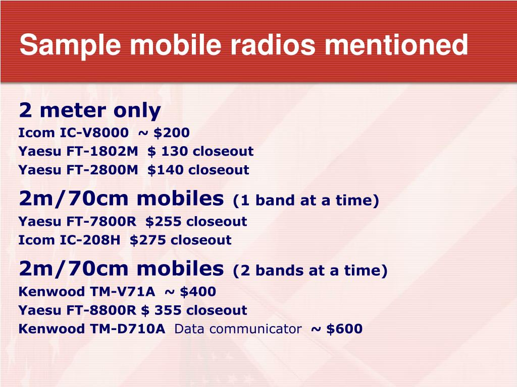Sample mobile radios mentioned