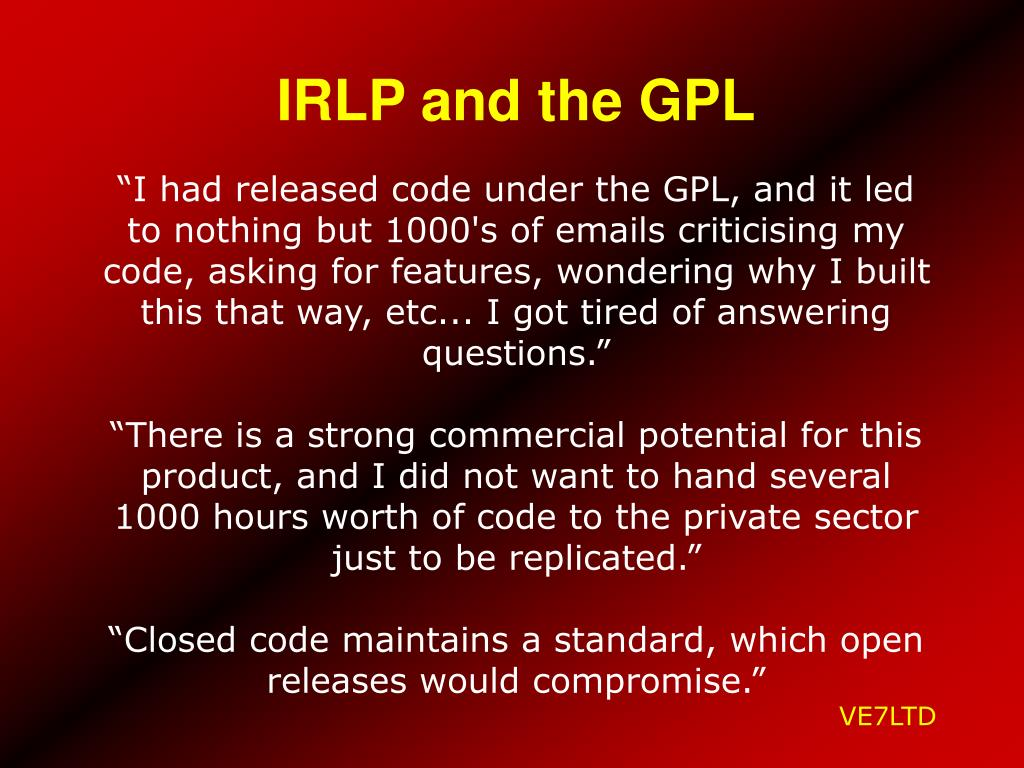 IRLP and the GPL