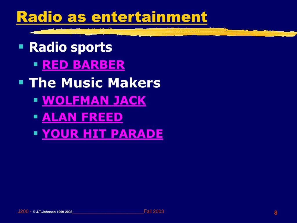 Radio as entertainment