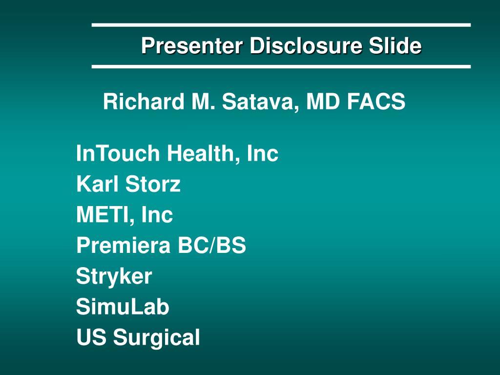 Presenter Disclosure Slide