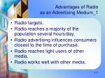 advantages of radio as an advertising medium 1