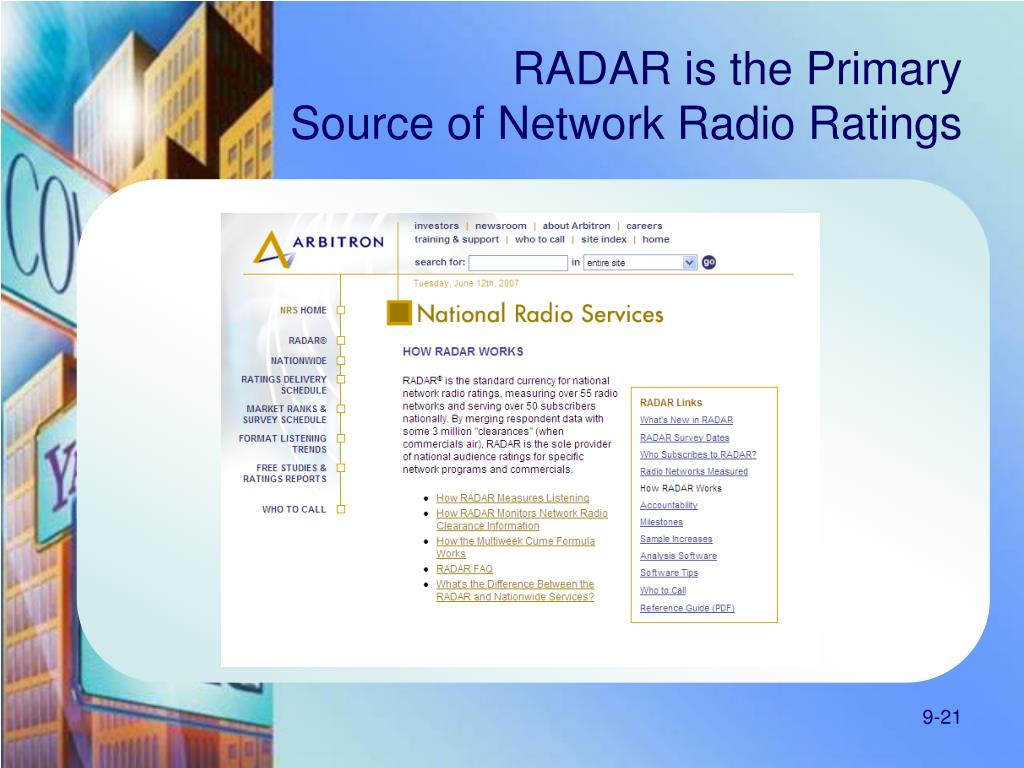 RADAR is the Primary