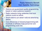 radio networks benefit from satellite technology