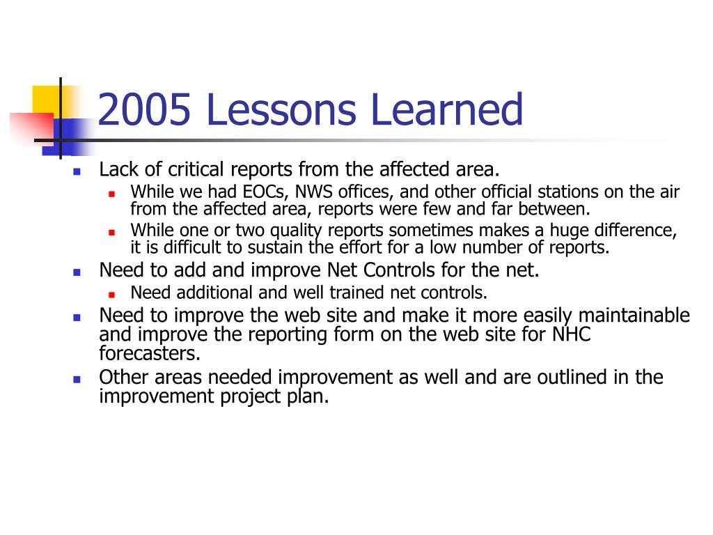 2005 Lessons Learned