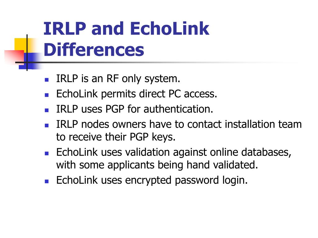 IRLP and EchoLink Differences