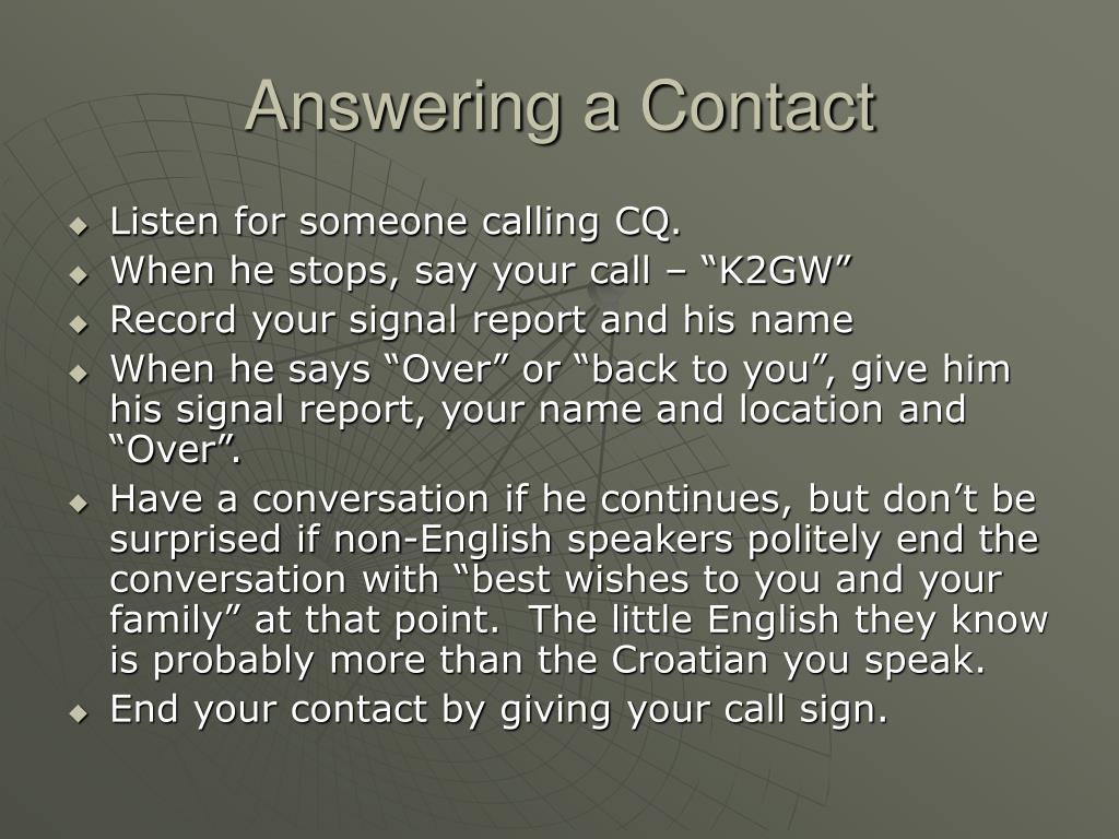 Answering a Contact
