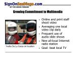 growing commitment to multimedia