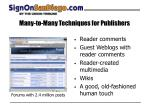 many to many techniques for publishers