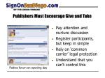publishers must encourage give and take