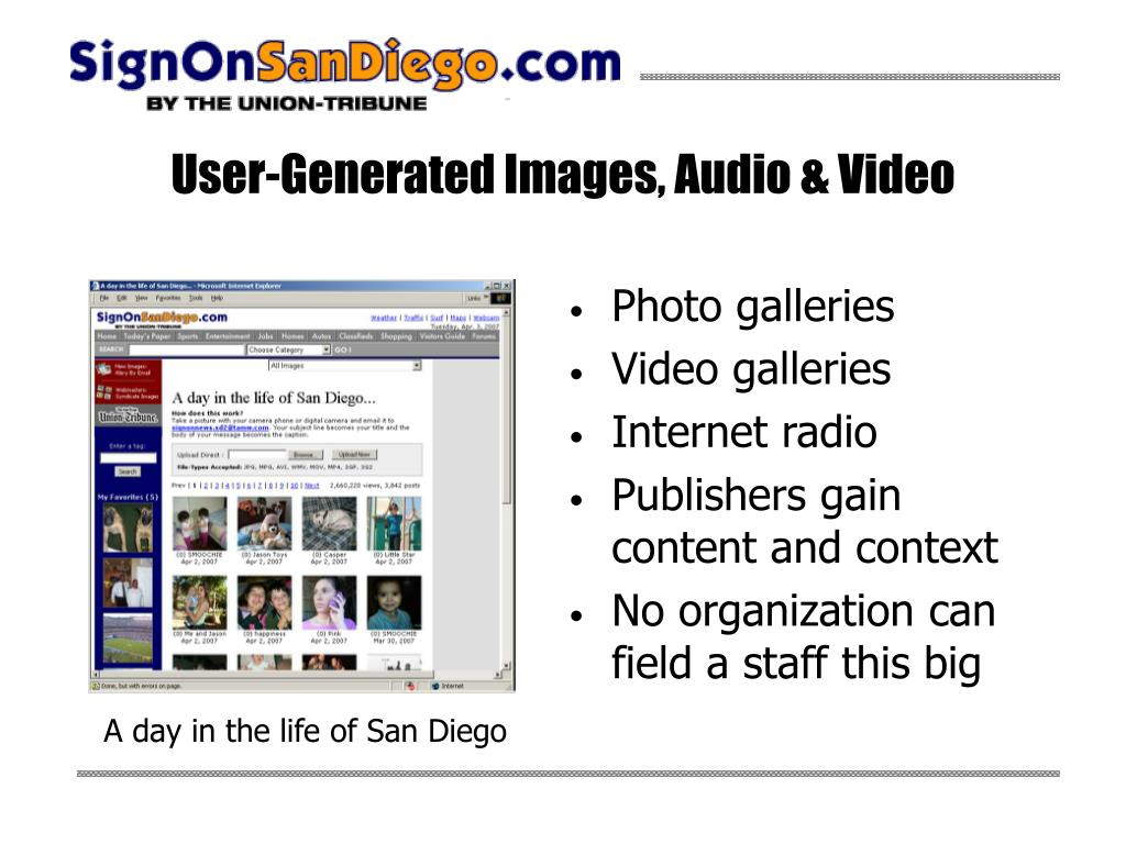 User-Generated Images, Audio & Video