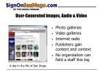 user generated images audio video