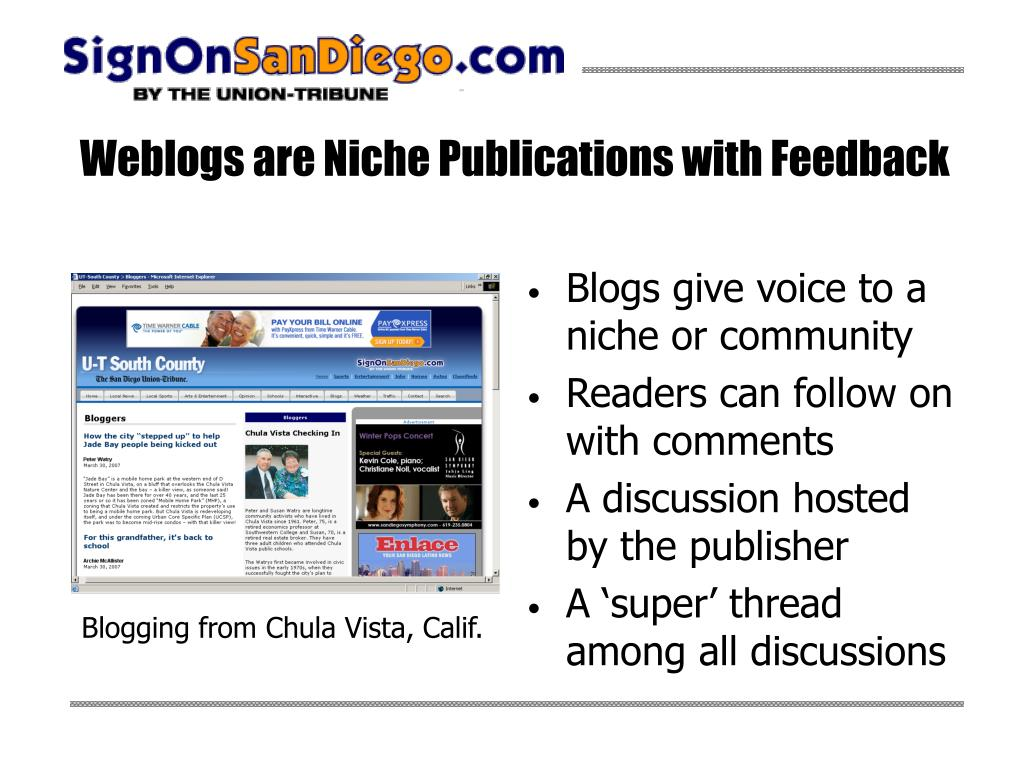 Weblogs are Niche Publications with Feedback
