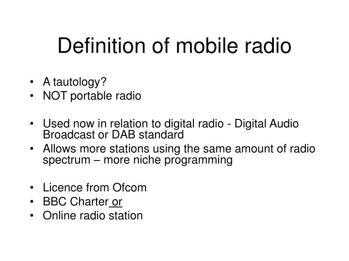 Definition of mobile radio