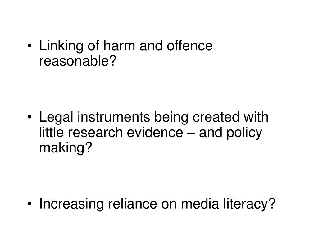 Linking of harm and offence reasonable?