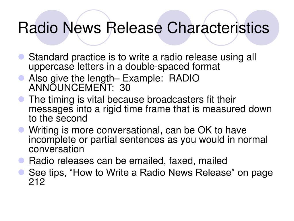Radio News Release Characteristics