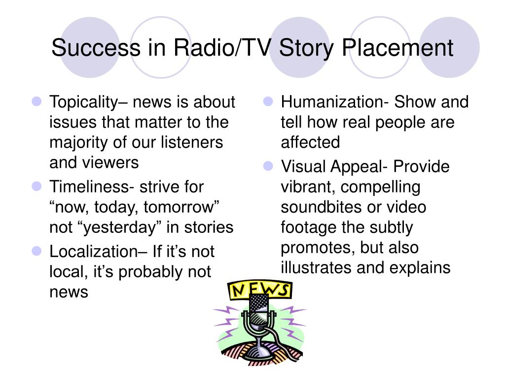 Topicality– news is about issues that matter to the majority of our listeners and viewers