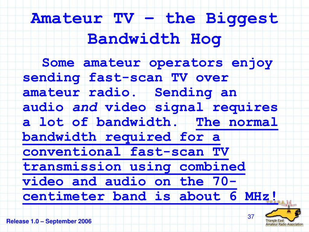 Amateur TV – the Biggest Bandwidth Hog