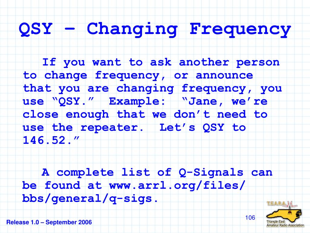 QSY – Changing Frequency