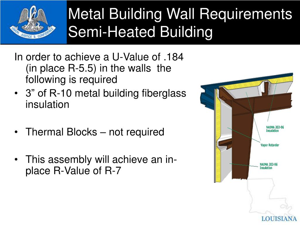 Metal Building Wall Requirements Semi-Heated Building