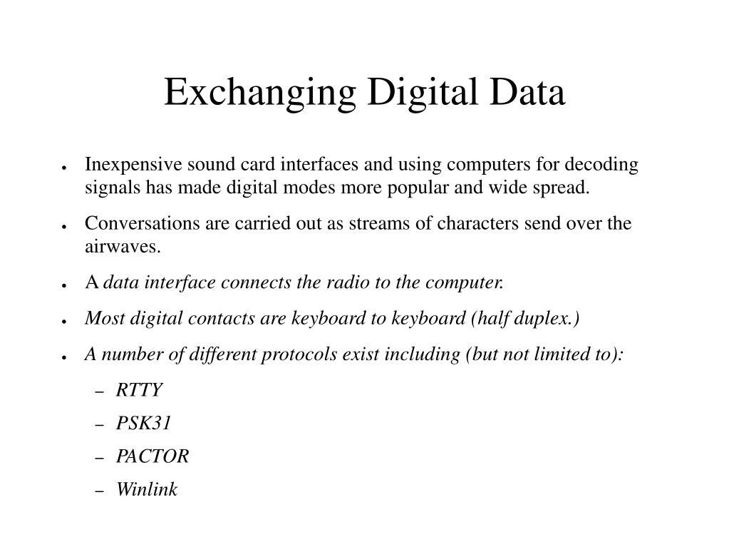 Exchanging Digital Data