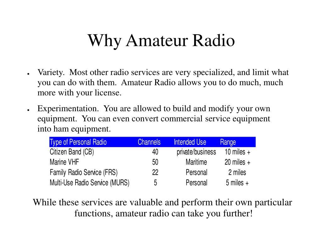 Why Amateur Radio