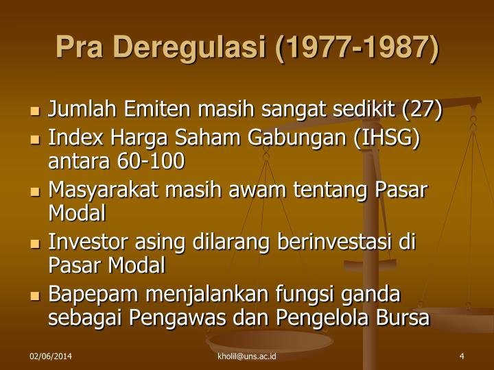 Pra Deregulasi (1977-1987)