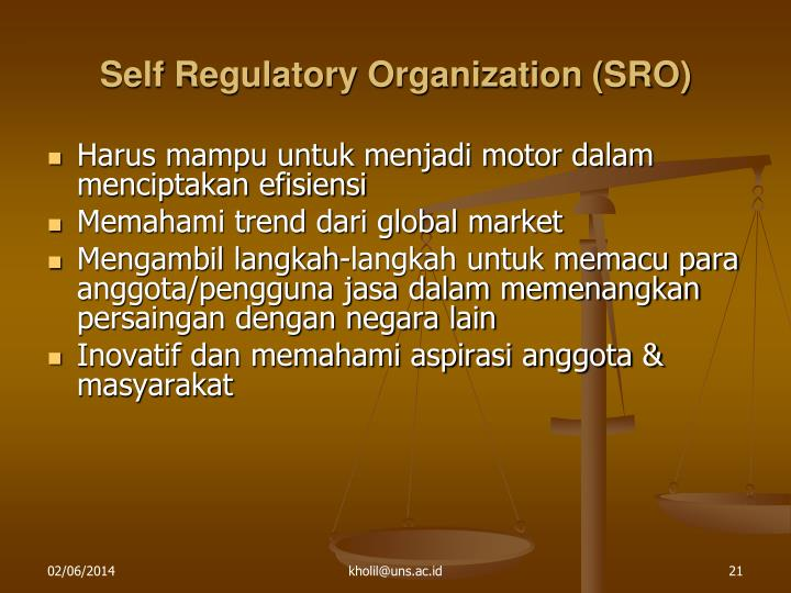Self Regulatory Organization (SRO)