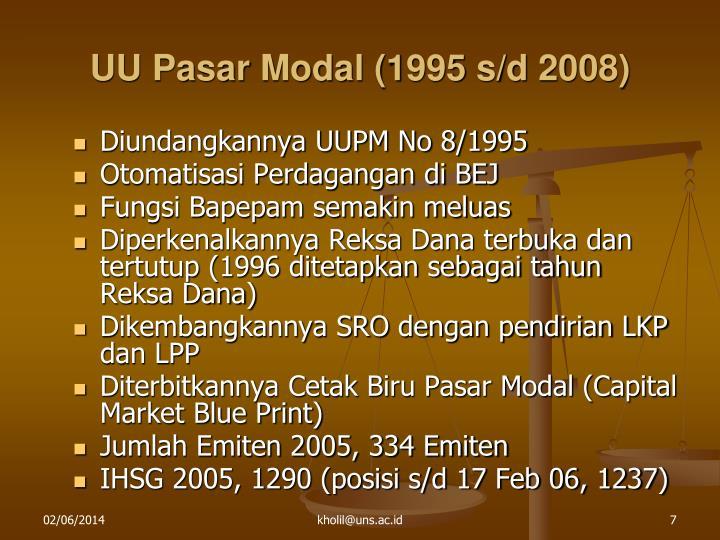 UU Pasar Modal (1995 s/d 2008)
