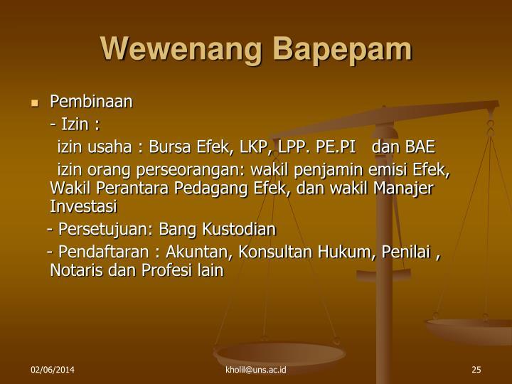 Wewenang Bapepam