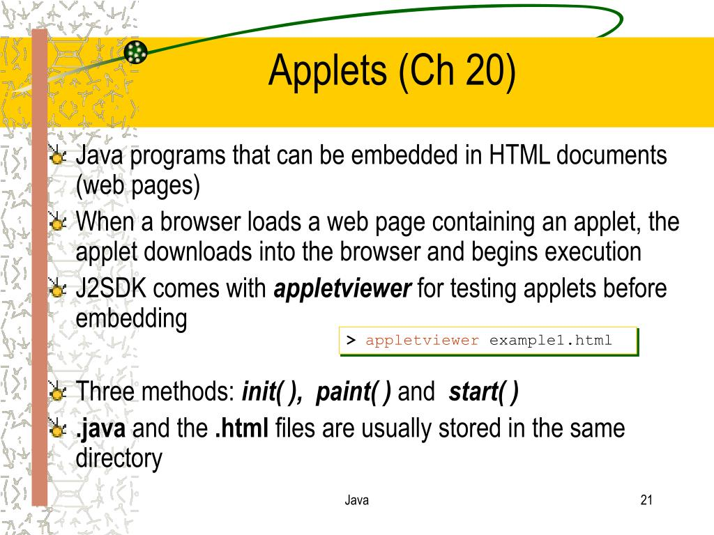 Applets (Ch 20)