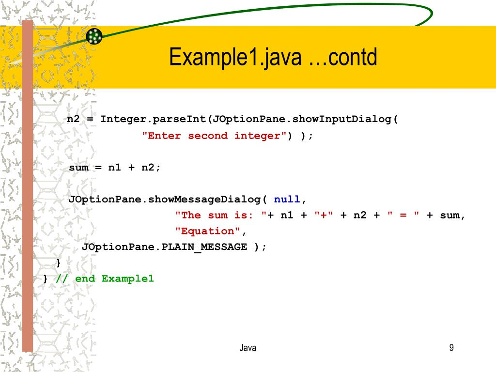 Example1.java …contd