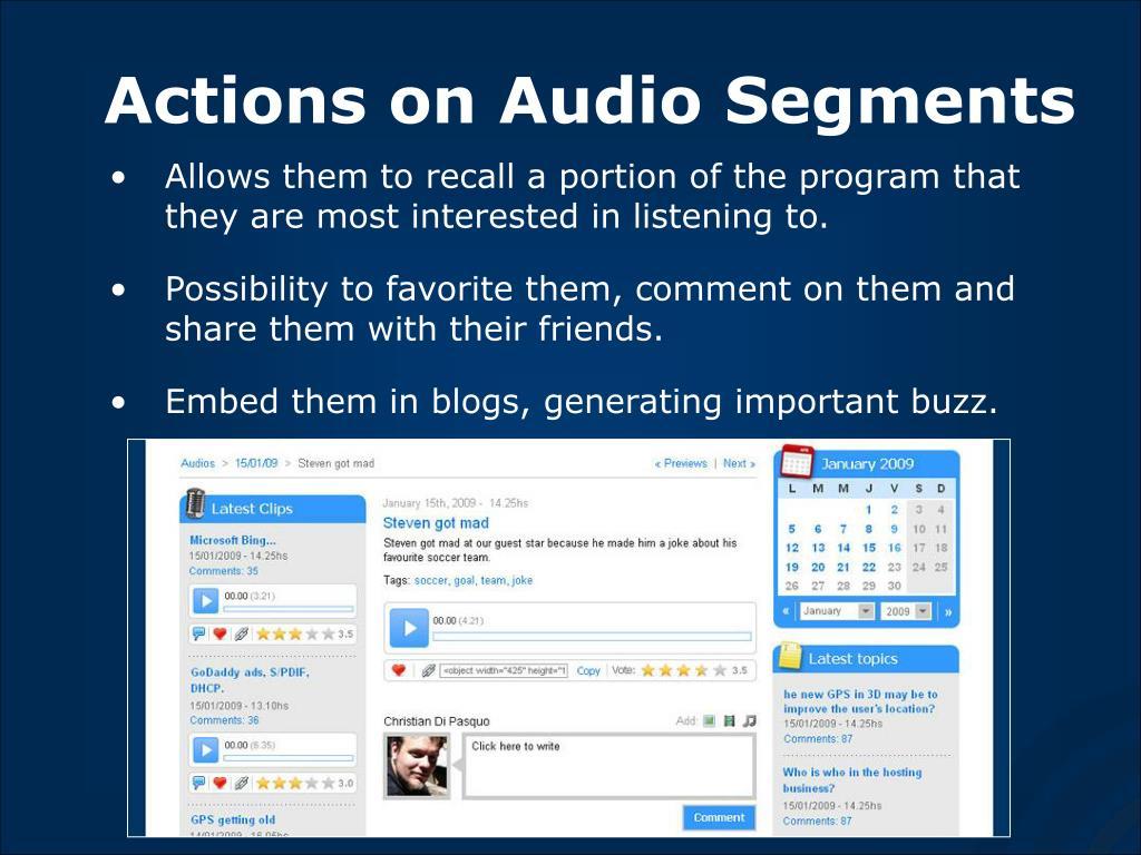 Actions on Audio Segments
