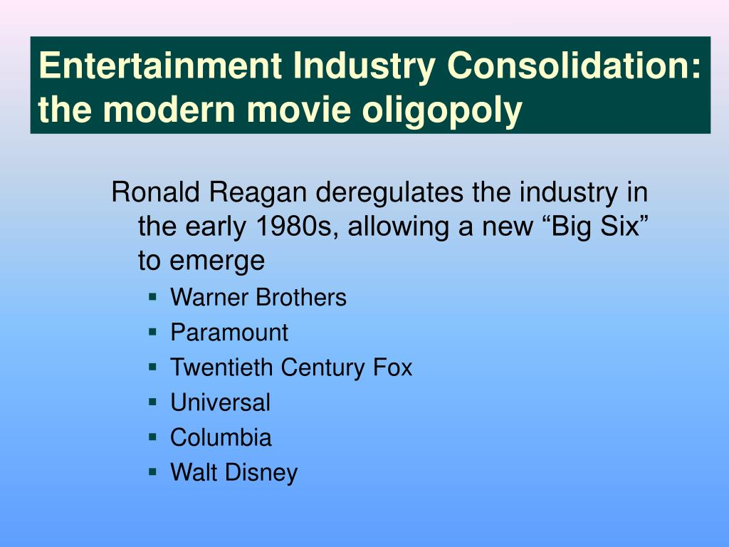 Entertainment Industry Consolidation: the modern movie oligopoly