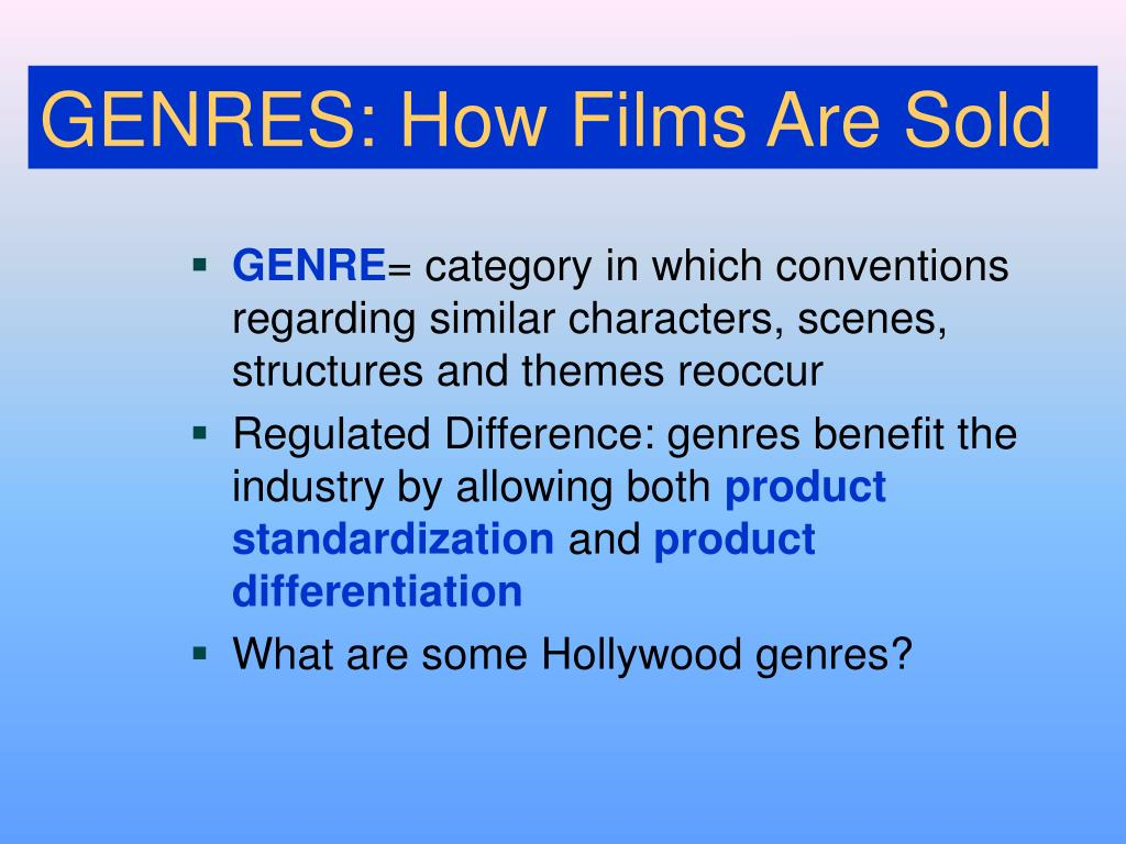 GENRES: How Films Are Sold