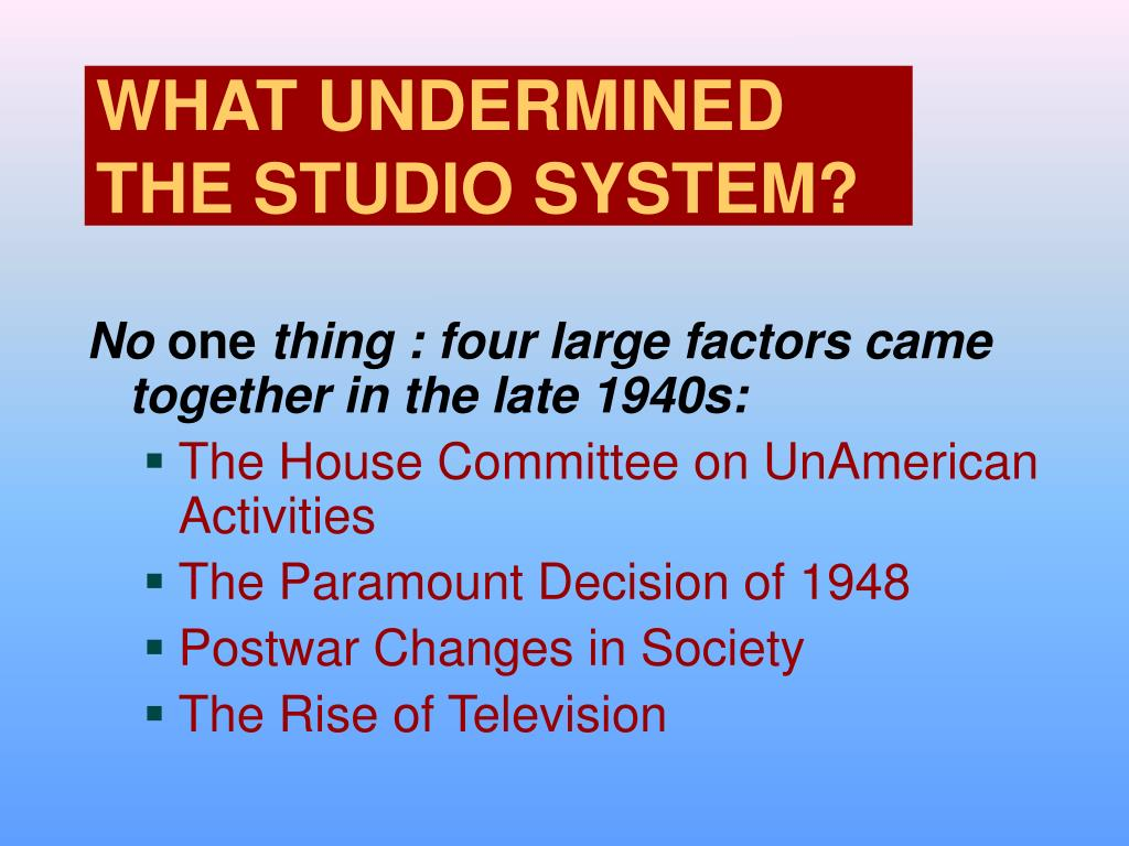 WHAT UNDERMINED THE STUDIO SYSTEM?