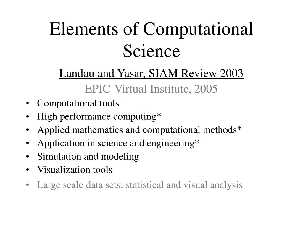 Elements of Computational Science