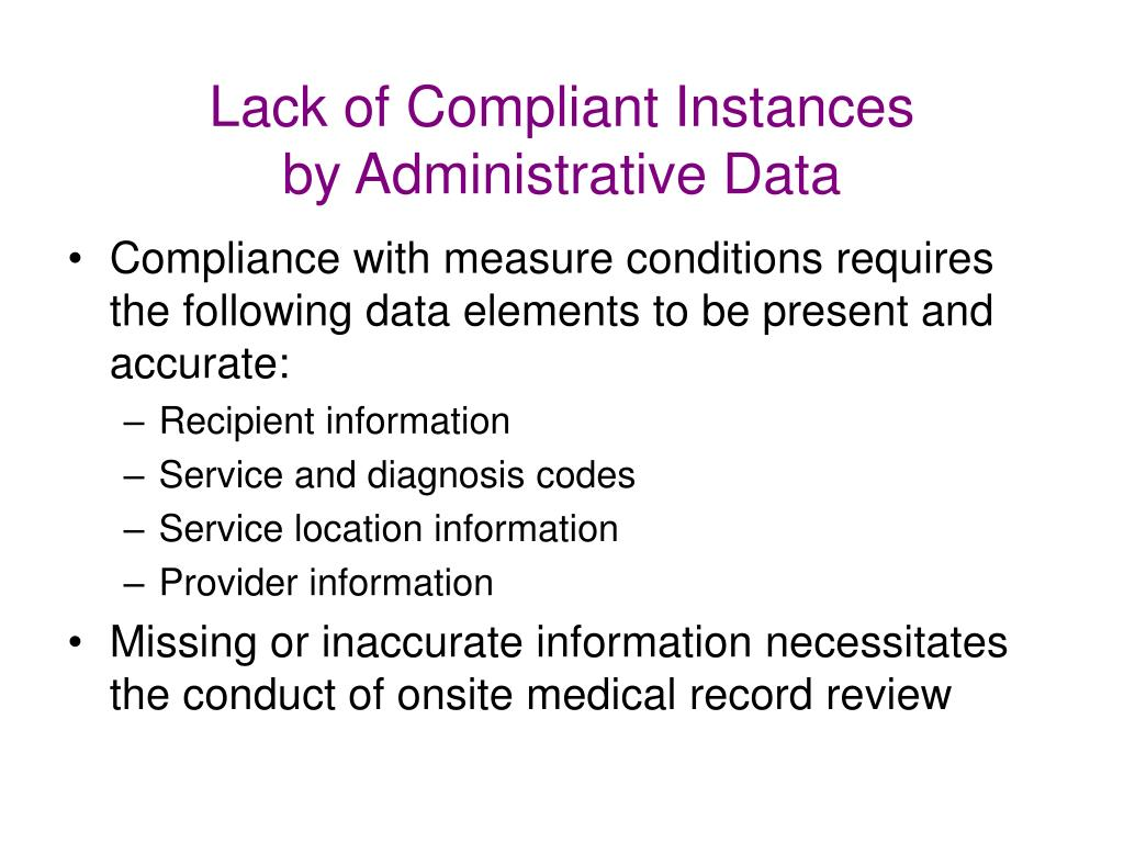 Lack of Compliant Instances