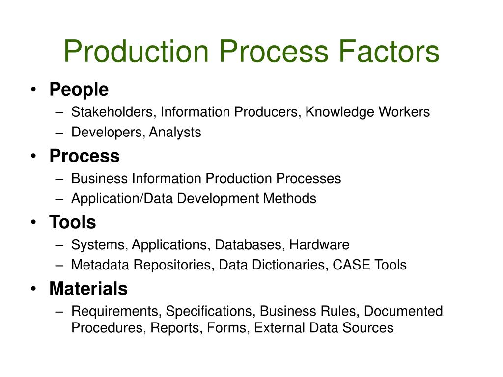 Production Process Factors